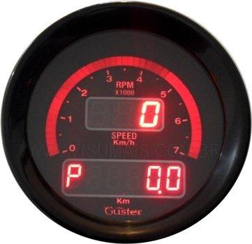 Velocimetro digital de 85mm com odometro total e parcial e conta giros progressivo, modelo MF - 70 STREET vermelho, marca Guster. Compatível em todos os veiculos. Incluso sensor de velocidade. Consulte também a linha resistente a água.