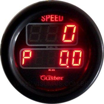 Velocimetro Digital com odometro total e parcial de 52mm modelo VO - 50 STREET, marca Guster compatível em todos os veículos. Incluso sensor de velocidade. Consulte também o velocímetro resistente a água para uso externo.