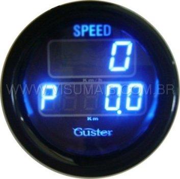Velocimetro Digital com odometro total e parcial de 52mm modelo VO - 50 STREET azul, marca Guster. Compatível em todos os veículos. Incluso sensor de velocidade. Consulte também o velocímetro resistente a água para uso externo.
